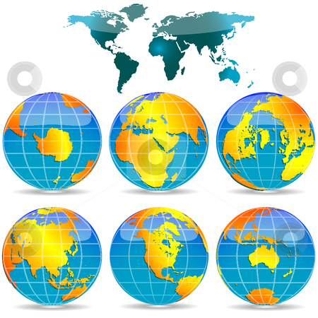 World globes against white stock vector clipart, World globes against white background, abstract vector art illustration by Laschon Robert Paul