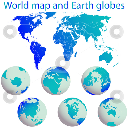 World map and earth globes stock vector clipart, World map and earth globes against white background, abstract vector art illustration by Laschon Robert Paul