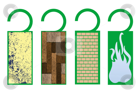 Tags with textures (fire) stock vector clipart, Tags with textures (fire), vector art illustration; more tags in my gallery by Laschon Robert Paul