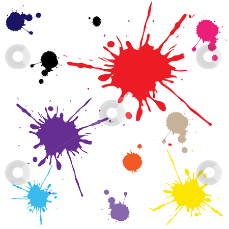 Splats against white stock vector clipart, Splats against white background, abstract vector art illustration by Laschon Robert Paul