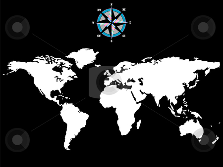 White world map with wind rose isolated on black background stock vector clipart, White world map with wind rose isolated on black background, abstract art illustration by Laschon Robert Paul