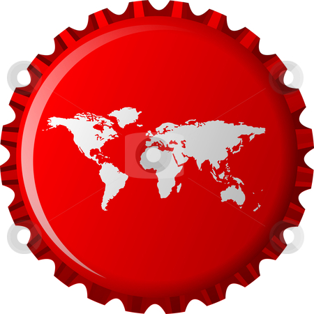 White world map on red bottle cap stock vector clipart, White world map on red bottle cap, abstract object isolated on white background; vector art illustration by Laschon Robert Paul
