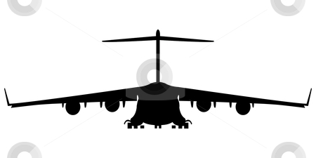 Hercules 300 silhouette stock vector clipart, Military air plane silhouette, vector art illustration; more silhouettes and drawings in my gallery by Laschon Robert Paul
