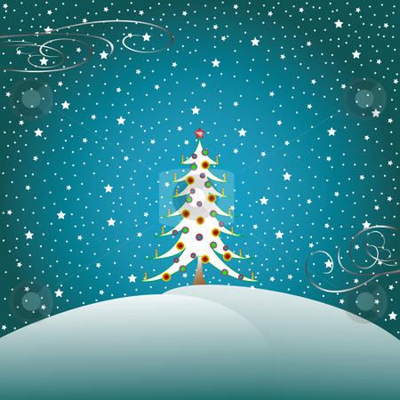 Stars, snow and christmas tree 2 stock vector clipart, Stars, snow and christmas tree, vector art illustration by Laschon Robert Paul