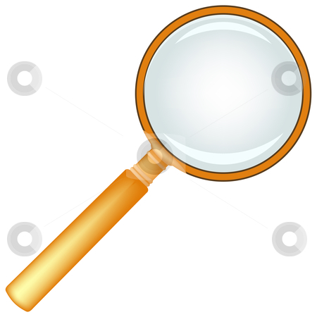 Wooden magnifying glass stock vector clipart, Wooden magnifying glass against white background, abstract vector art illustration by Laschon Robert Paul