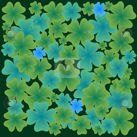 Shamrock leaves pattern stock vector clipart, Shamrock leaves pattern, abstract vector art illustration by Laschon Robert Paul