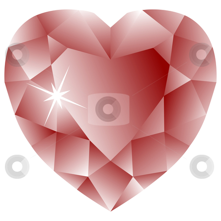 Heart shape ruby against white stock vector clipart, Heart shape ruby against white background, abstract vector art illustration by Laschon Robert Paul