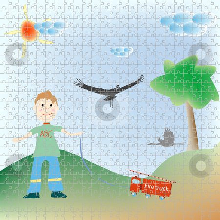 Little boy playing puzzle stock vector clipart, Little boy playing puzzle, abstract art illustration by Laschon Robert Paul