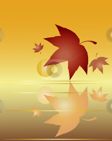 Leaf reflections stock vector clipart, A hand drawn illustration of autumn leaves with reflections on a golden background by Mike Smith