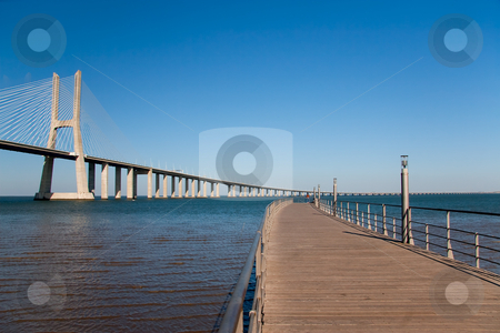 Footbridge near the bridge Vasco de Gama, Lisboa (Portugal) stock photo, Footbridge near the bridge Vasco de Gama, Lisboa (Portugal) by B.F.