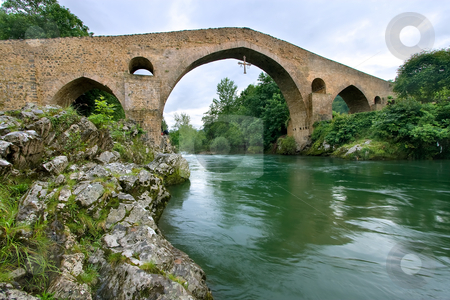Roman bridge of Cangas de Onis, Asturias, Spain stock photo, Roman bridge of Cangas de Onis, Asturias, Spain by B.F.