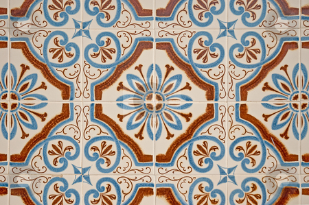 Old tiles background stock photo, Old traditional portuguese dacade tiles background. by Homydesign