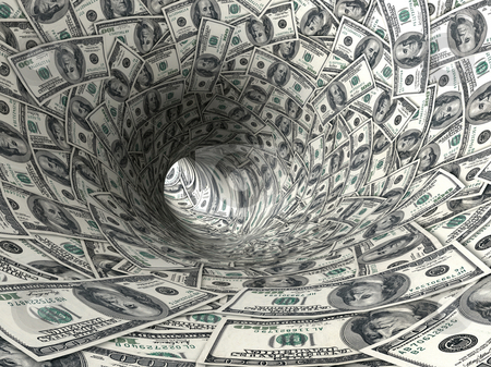 Dollars funnel. stock photo, Dollars swirl 3d abstract illustration. by Oleksiy Fedorov