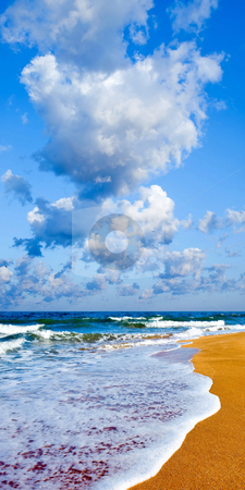 Seashore. stock photo, Sandy shore and white clouds on blue sky background. by Oleksiy Fedorov