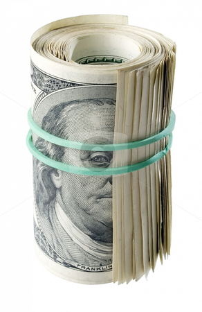 Dollars. stock photo, Roll dollars on white background (isolated). by Oleksiy Fedorov