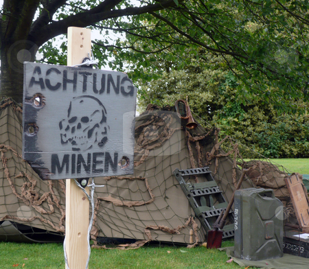 Achtung minen german mines stock photo, Warning german mine field with world war two tent by Michael Travers