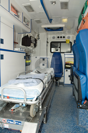 Ambulance car interior stock photo, Ambulance car interior with no people. by Robert Remen