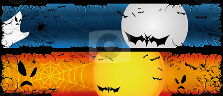 Halloween banners set stock vector clipart, Halloween two banners set 120 x 600 by fotosutra