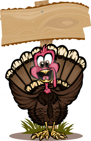 Thanksgiving Turkey stock vector clipart, Cheerful turkey standing in front of wooden sign. The background is on separate layers, and the turkey is broken up into layers for easy editing! by Ray Joachim