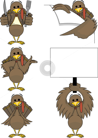 Holiday Turkey stock vector clipart, This holiday turkey comes in 5 different poses! Separated into layers for easy editing. by Ray Joachim