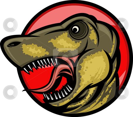 Dinosaur mascot stock vector clipart, Roaring T-rex mascot! Separated into layers for easy editing. by Ray Joachim