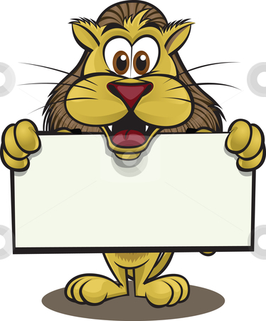 Lion holding sign stock vector clipart, Cute lion holding sign. Separated into layers for easy editing. by Ray Joachim