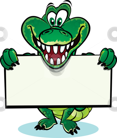 Crocodile Funny Sign on Crocodile Holding Sign Stock Vector Clipart ...