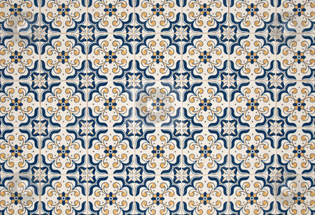 Portuguese glazed tiles stock photo, Detail of Portuguese glazed tiles. by Homydesign