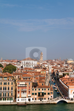 Venice Italy stock photo, A cityscape view of Venice, Italy from high above the water. by Kevin Tietz
