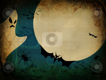 Vintage Halloween card or background in blue design stock photo, Vintage Halloween card or background in blue design. Vector also available by Fotosutra.com
