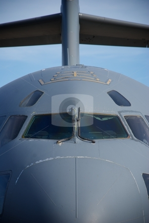 Air Force Cargo Jet Nose stock photo, A close-up showing the nose and tail of an Air Force cargo jet by Shane Morris