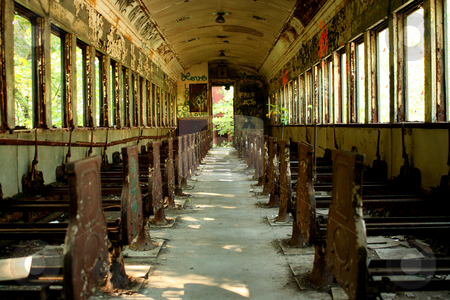 Old abandoned passenger train car stock photo