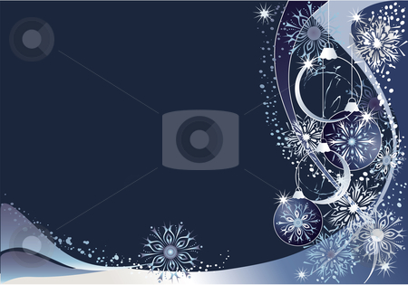 Blue christmas  background stock vector clipart, Blue christmas background with snowflakes and baubles. by Iliyana Petrova