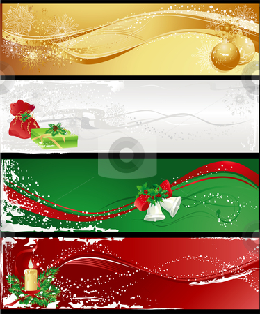 Christmas banners stock vector clipart, Christmas different banners with baubles, gifts, candle and bells. by Iliyana Petrova