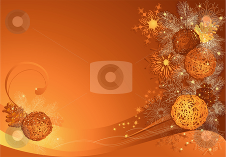 Christmas with braided baubles stock vector clipart, Christmas background with braided balls and snowflakes. by Iliyana Petrova