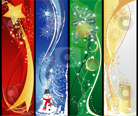 Four christmas vertical banners stock vector clipart, Christmas vertical banners with star, snowman, baubles and gift. by Iliyana Petrova