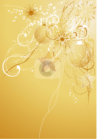 Gold christmas background with balls stock vector clipart, Gold christmas abstract background with diferent pendants and snowflakes. by Iliyana Petrova