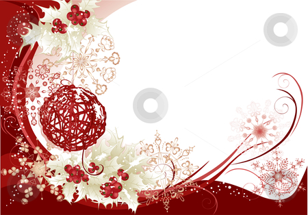 Red christmas frame background stock vector clipart, Christmas background with red frame and snowflakes. by Iliyana Petrova