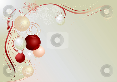 Silver christmas background stock vector clipart, Silver christmas background with baubles and snowflakes. by Iliyana Petrova