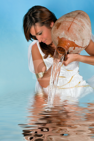 Water-carrier woman stock photo, Aquarius or Water-Carrier woman, this photo is part of a series of twelve Zodiac signs of astrology by Anneke
