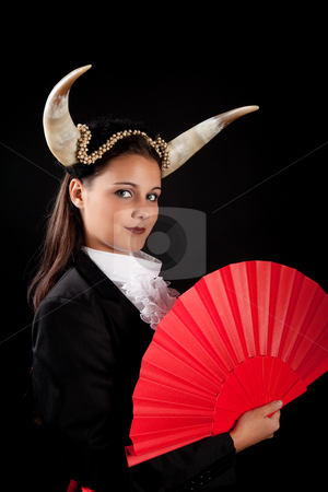 Taurus zodiac girl stock photo, Taurus or Bull woman, this photo is part of a series of twelve Zodiac signs of astrology by Anneke