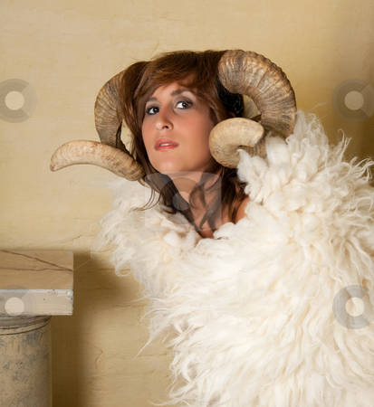 Aries girl stock photo, Ram or Aries woman, this photo is part of a series of twelve Zodiac signs of astrology by Anneke