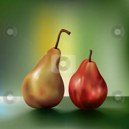 Two vector pears side by side stock vector clipart, Two pears side by side, created using gradient mesh by Liviu Peicu