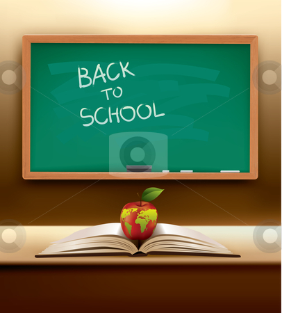 Vector back to school concept stock vector clipart, Back to School concept with open book and international apple on top. Ready for the new year. The map on the apple was traced from:  http://www.lib.utexas.edu/maps/world_maps/world_pol_2008.pdf The map is traced in Adobe Illustrator on August 20th 2010 using the map's outlines layer data. by Liviu Peicu