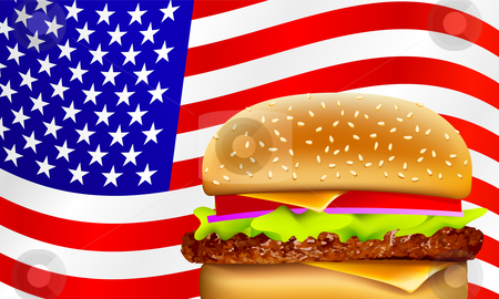 Vector all American hamburger stock vector clipart, Hamburger on a waving American flag by Liviu Peicu