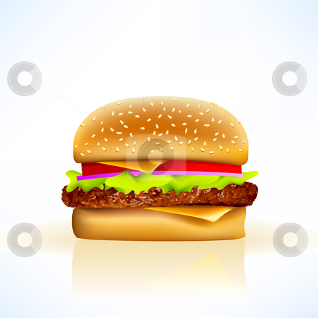 Delicious realistic vector cheeseburger stock vector clipart, Vector cheeseburger on soft background with all the trimmings by Liviu Peicu