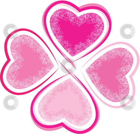 Lucky In Love  stock vector clipart, Lucky in love clover made up of four intricate heart shapes by Liviu Peicu