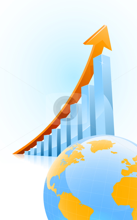 Globl business growth concept stock vector clipart, Vector business growth bar graph with globe in front by Liviu Peicu