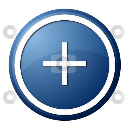 Plus button stock photo, Round plus button with white ring for web design and presentation by Henrik Lehnerer