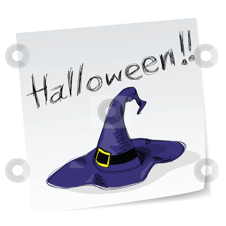 Witch hat stock vector clipart, A note with hand-drawn halloween theme message - 6 of series. by Mtkang 